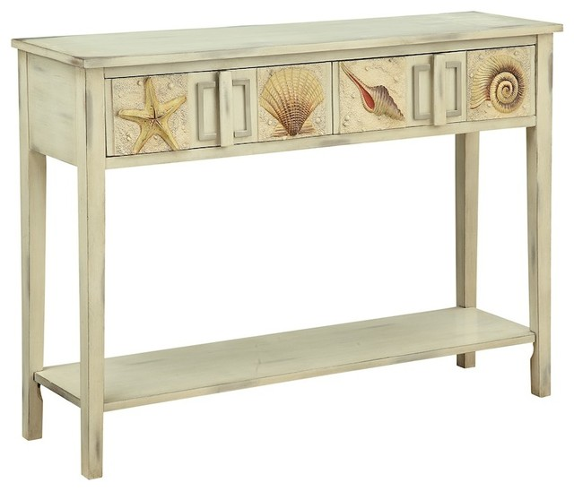Cream Console Table coast to coast shoals distressed 2-drawer console table, cream