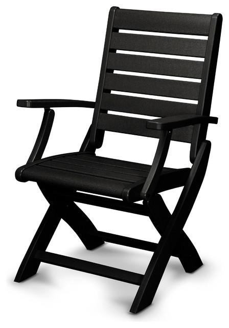 Polywood Ivy Terrace Artisan Folding Dining Chair Black