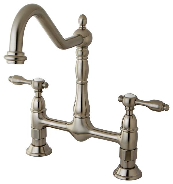 Tudor 8 Kitchen Faucet Without Sprayer, Satin Nickel.