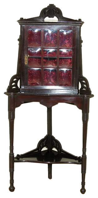 Consigned c1910 Antique Edwardian Dark Mahogany Corner Cabinet - Victorian - China Cabinets And ...