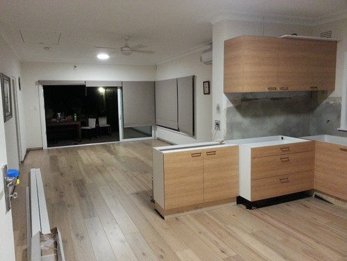 Once The Floor Was Done, The Kitchen Joinery Came Out To Finish The Cabinet  Installation, Kick Board, As Well As Bringing In Stone Masonry To Put Int  Bench ...