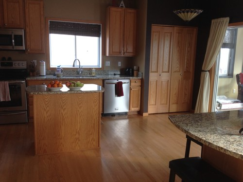 Kitchen cabinets, wood floor and trim/baseboard colors