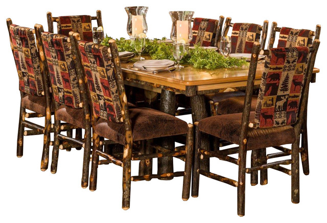 Rustic Hickory Trestle Dining Table With 8 Side Chairs