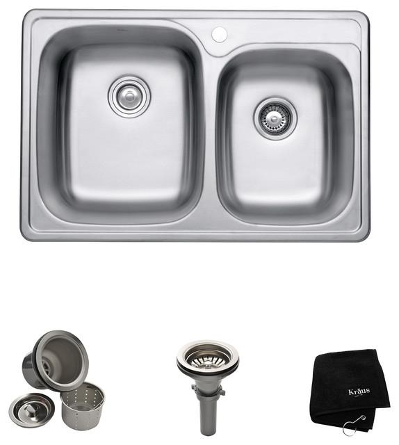 kraus usa inc 60 40 double bowl 18 gauge stainless steel kitchen sink 33 kitchen sinks houzz. Black Bedroom Furniture Sets. Home Design Ideas