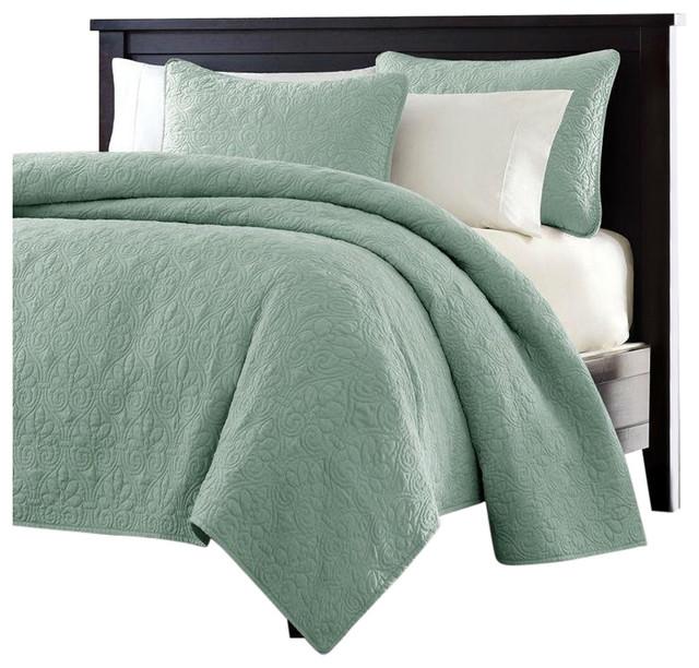 King Size Seafoam Green Blue Coverlet, Seafoam Blue Bedding
