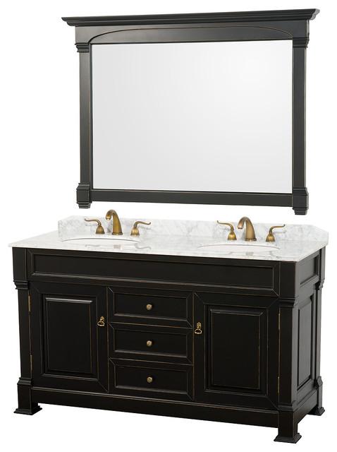 "Andover 60"" Vanity White Sinks 56"" Mirror Antique Black White Carrera Marble."