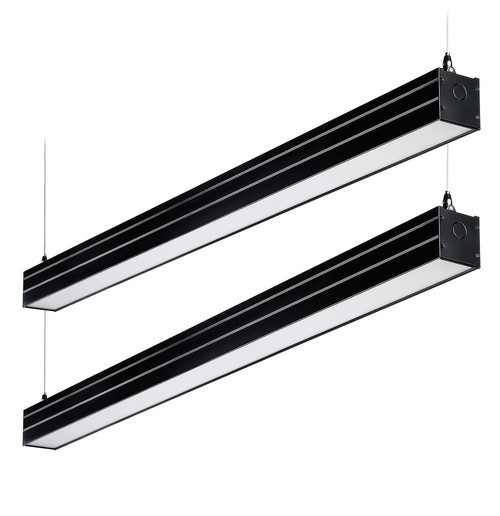 2-Pack 4' Dimmable LED Linear Light, Linkable Suspension, Black