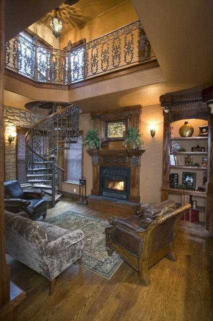 2 Story Library With Stone Wall, Native Cherry Hand Made Cabinets And Hand  Crafted Custom Spiral Staircase! Wood Burning Fireplace Completes This Cozy  Room!