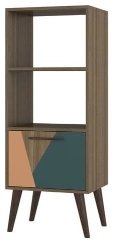 Sami 2.0 Double Bookcase With 1, Drawer In Oak Frame With Peach And Teal.