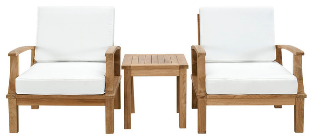Marina 3-Piece Outdoor Patio Teak Sofa Set, Natural White.