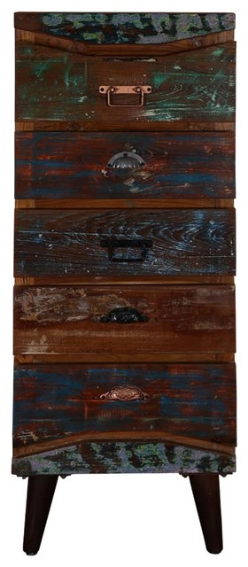 """Rustic Colors Reclaimed Wood Standing 51"""" 5-Drawer Accent Dresser."""