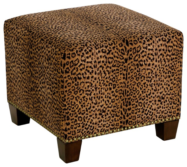 Square Nail Button Ottoman, Cheetah Earth