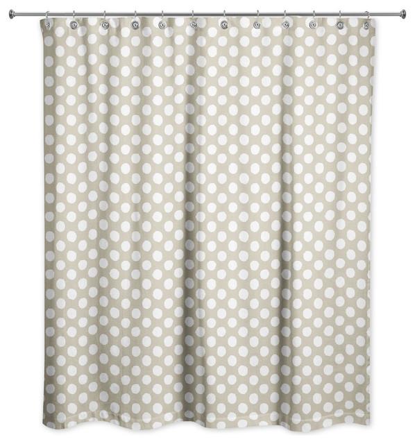 Tan Polka Dots Shower Curtain