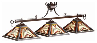 Three Shade Billiard Light W Stained Glass Pyramid Shades   Craftsman   Pool  Table Lights   By ShopLadder
