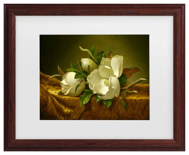 16x20 White Magnolia Flower in Vase Martin Johnson Heade Floral Wall Art Print