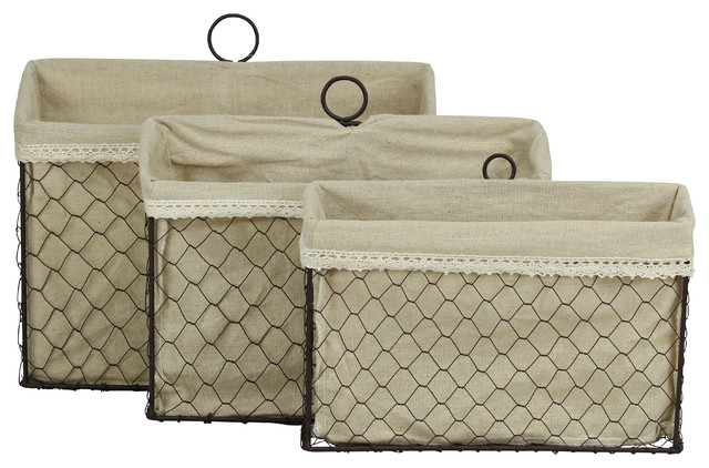 Lined Wire Organizers, Set Of 3.