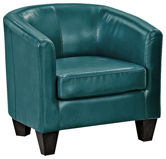 Peacock Blues Faux Leather Armchair.