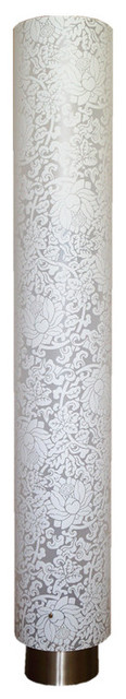 Modern White Column Floor Lamp With Floral Pattern Shade.