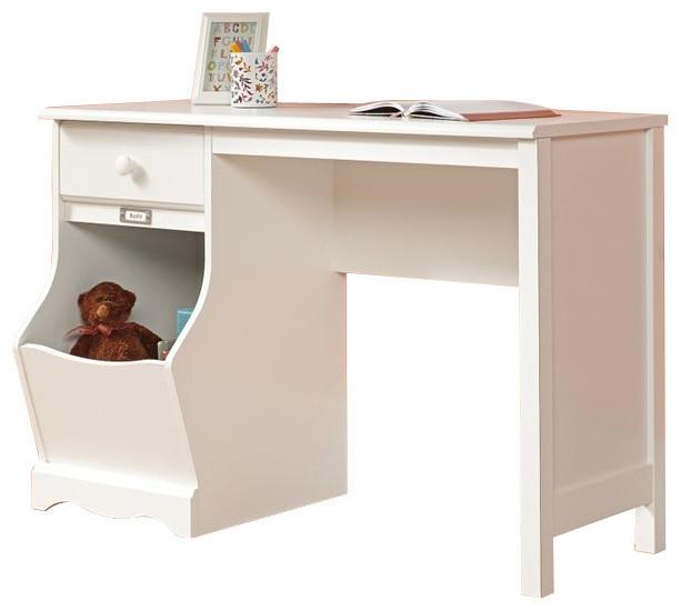 Sauder Pogo Desk In Soft White Finish Transitional Desks And Hutches