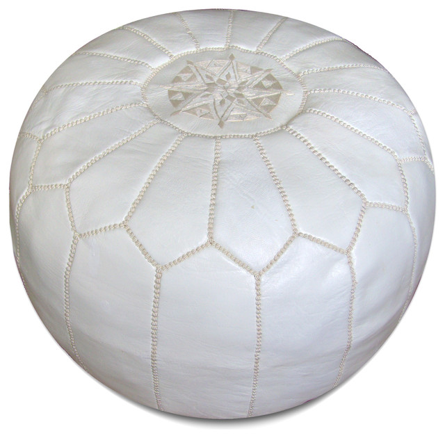 Moroccan Pouf in White - Mediterranean - Floor Pillows And Poufs - by Hattan Home