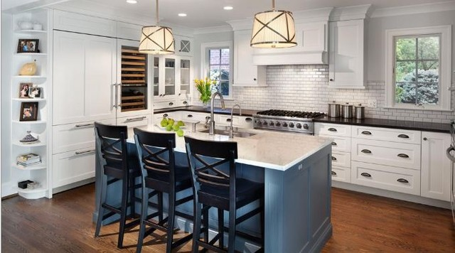 White Painted Kitchen With Blue Island Traditional