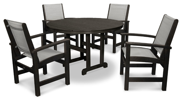 Terrific Polywood Coastal 5 Piece Dining Set In Black Metallic Sling Dailytribune Chair Design For Home Dailytribuneorg