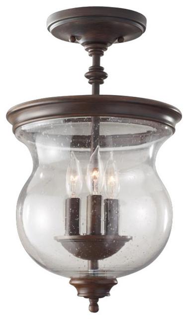 Feiss 3-Light Semi-Flush, Heritage Bronze