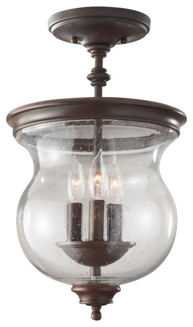 3 Light Heritage Bronze Clear Seeded Gl Foyer Hall Semi Flush Mount