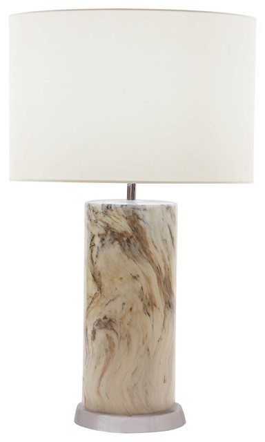 Modern Cylindrical Ceramic Table Lamp, Marbled Brown.