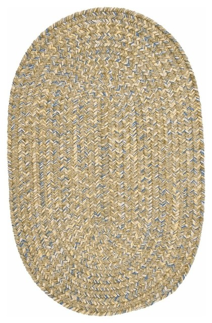 Colonial Mills West Bay Celery Tweed Area Rug, 2&x27;x3&x27; Oval.