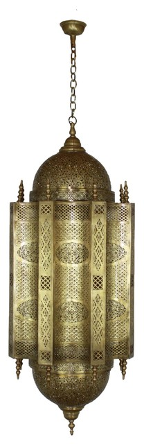 Large Moroccan Hand Punched Brass Chandelier