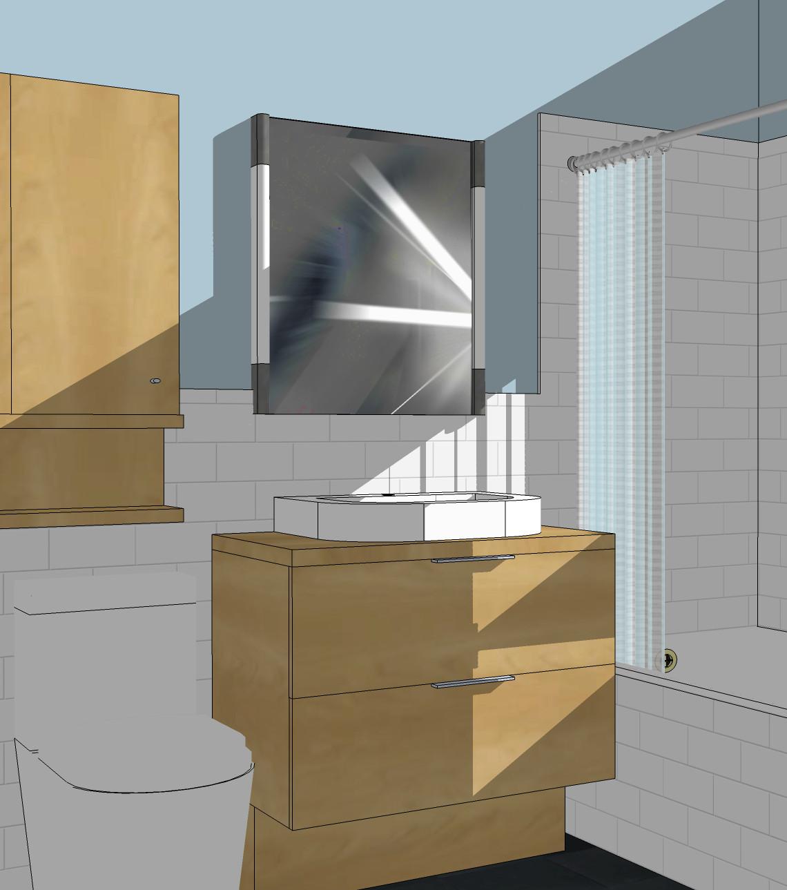 Chicago Bungalow Bath Remodel - 3D