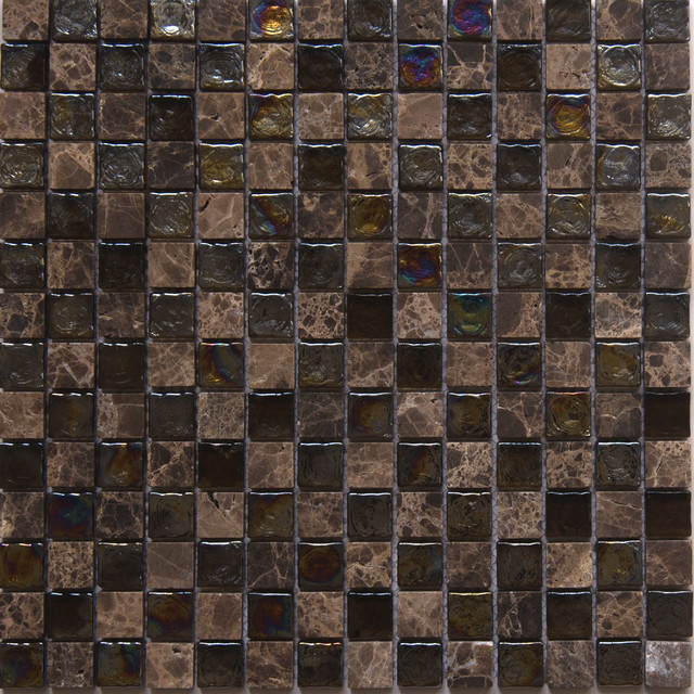 """12""""x12"""" Glass and Stone Mosaic Tile, Topaz, Square, Set of 50"""