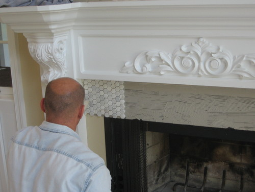 Carrera Marble Hexagon Mosaic Tile Was Installed Around The Entire Fireplace Opening And On Hearth