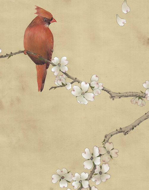 Chinoiserie Wall Mural Carolina Breeze Antiqued, Sample.