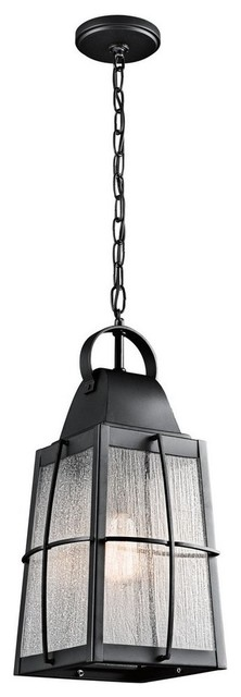 Tolerand 1-Light Outdoor Pendant, Textured Black, Clear Seedy Glass.