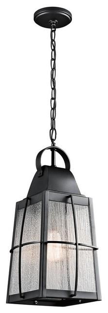Tolerand 1-Light Outdoor Pendant, Textured Black, Clear Seedy Glass