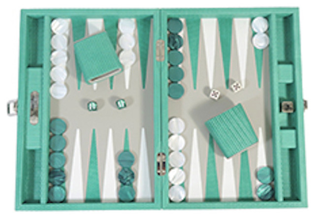 Leather Backgammon Board Game, Turquoise
