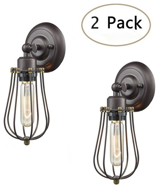 Vintage-Style Industrial Mini Wire Cage Wall Sconce, 2 PACK