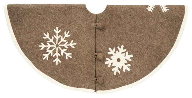 Rustic Snowflake Christmas Tree Skirt In Hand Felted Wool Transitional Skirts By Arcadia Home