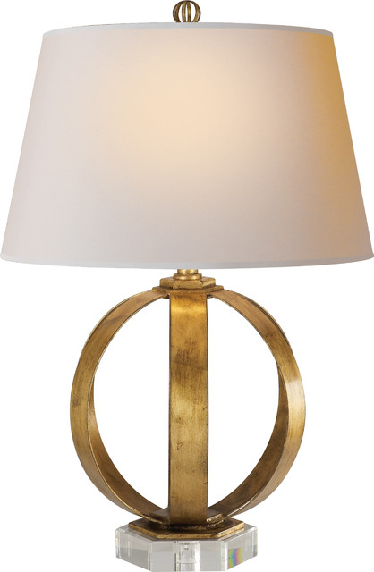 Metal Banded Table Lamp Gilded Iron