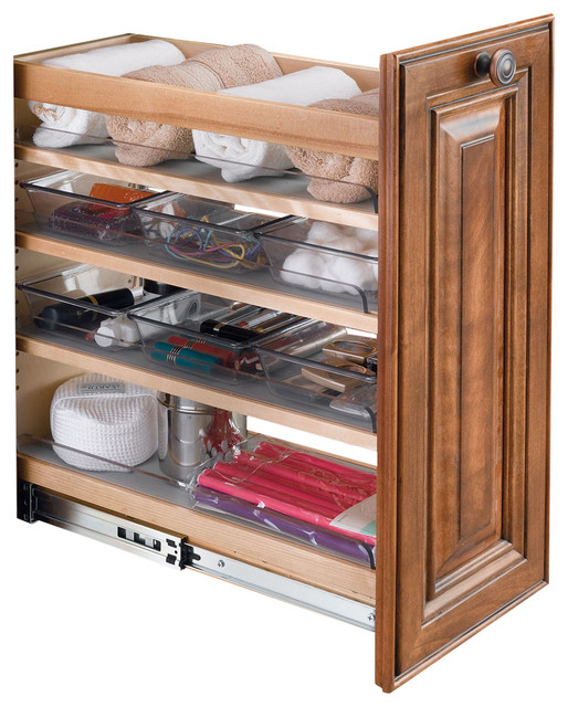 Wood Pull-Out Vanity Base Organizer With Soft-Close Slides, 25.