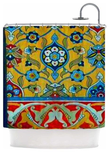 S Seema Z Persian Mood Yellow Blue Shower Curtain