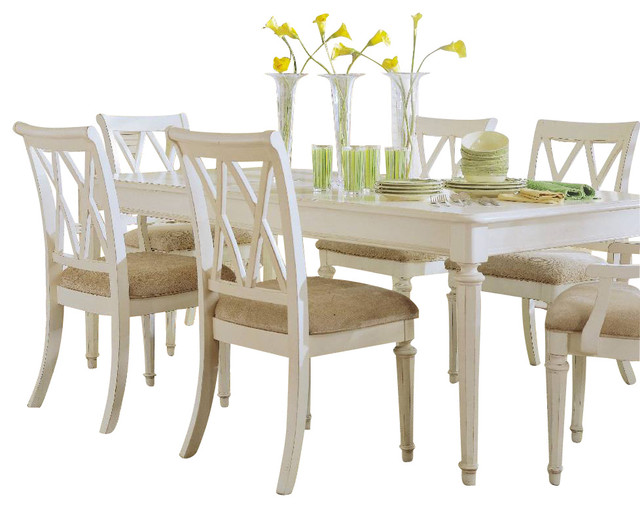 American Drew Camden Light 8 Piece Leg Dining Room Set in White Painted  traditional. American Drew Camden Light 8 Piece Leg Dining Room Set in White