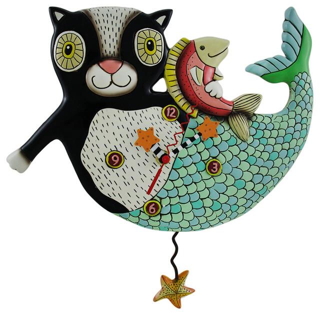 mercat mermaid cat pendulum wall clock wallclocks - Pendulum Wall Clock