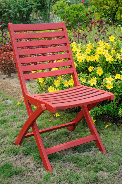 Outstanding Royal Fiji Acacia Wood Folding Ladder Back Chair Set Of 2 Barn Red Barn Red Gmtry Best Dining Table And Chair Ideas Images Gmtryco