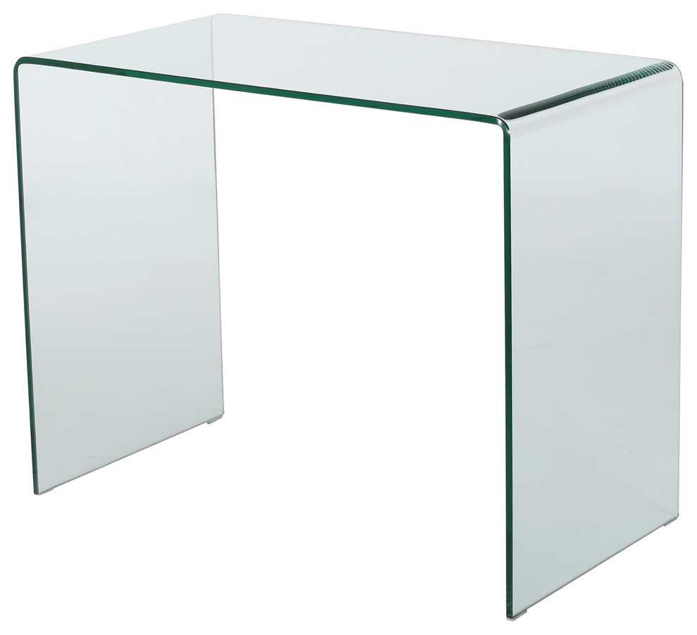 - GDF Studio Classon Tempered Glass Accent Table - Contemporary