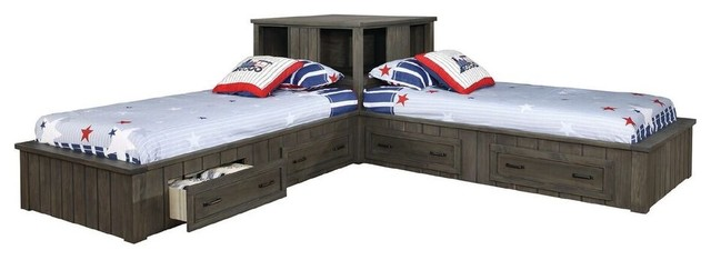 Owen Distressed Gray Twin Size Corner Unit Beds.