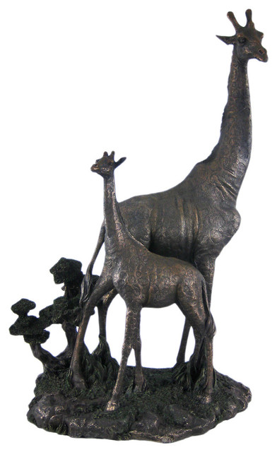 Zeckos Carved Wood Look Mother Giraffe and Calf Tabletop Statue