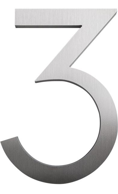 """Modern Font House Number, Brushed, 4"""", Number 3"""